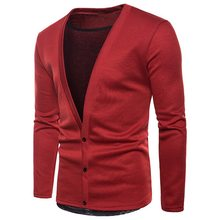 WENYUJH 2018 New Arrival Men Solid Cardigan Mens Casual Sweater 3 Colors Sexy High Quality Pullover For Men Cardigans Masculino(China)