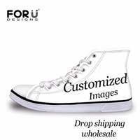 FORUDESIGNS Custom Image Logo Women High Top Canvas Shoes Classis Lace up Vulcanized Shoe for Teenagers Student Girls Flats Shoe