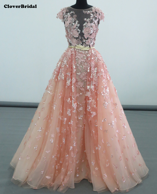 Elie saab bling bling sequines lace leaves pink gown night dress ...