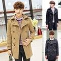 Moda caliente venta hombres sólido abrigo de lana de invierno con cuello en v de la capa de lana nuevo estilo de hombre Formal de doble botonadura mezclas M-XXL