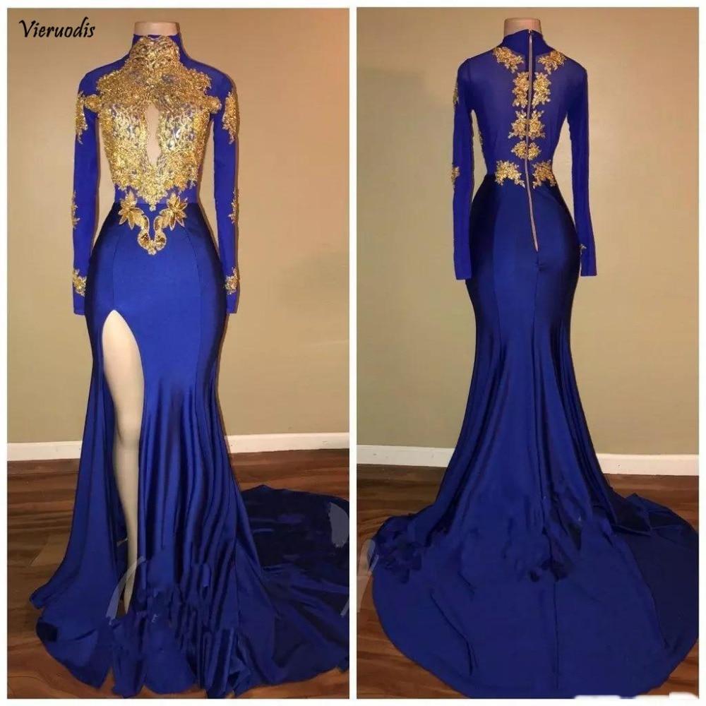 148-1             Arabic Gold Appliques High Neck Blue Prom Dresses 2K Mermaid Long Sleeves 2018 Sexy High Split Black Girls Evening Gowns Celebrity Dress