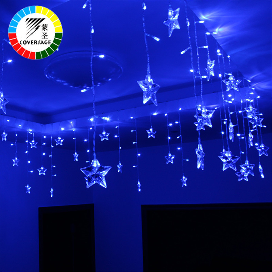 Uncategorized String Lights Stars coversage christmas fairy string lights stars xmas wedding garden party luces decoration outdoor light curtain led lights