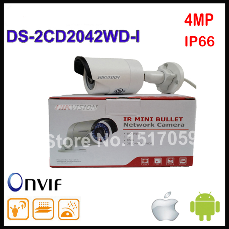 Hikvision DS-2CD2042WD-I English version stardot 4MP IR Bullet Network Camera, P2P ip security CCTV camera POE, support H.264+ free shipping ds 2cd2442fwd iw english version 4mp ir cube network cctv security camera mini wifi ip camera poe 10m ir
