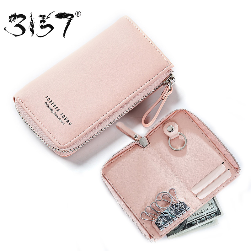 3157 Key Wallets Women Solid Zipper Lady Bags PU Leather Card Holder Purse For Girls Multifunction Key Chain Holder Female Purse