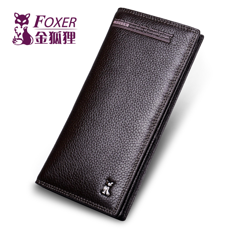 ФОТО FOXER new 2016 men wallet fashion designer brand the purse male long design wallet genuine leather purse bags cowhide the wallet