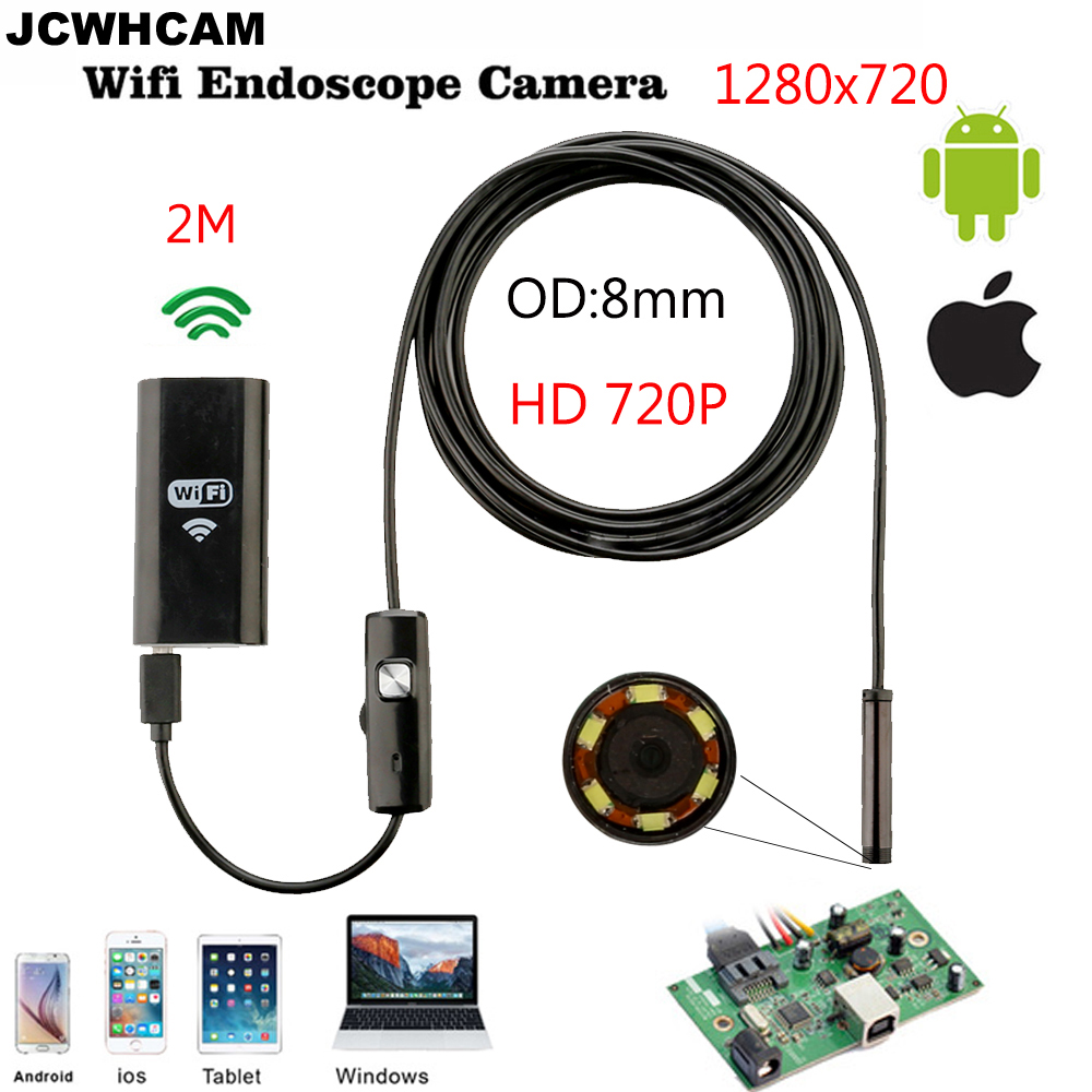 JCWHCAM HD 720P WIFI IOS endoskop Snake USB kamera 8mm objektiv 3,5M 2M Android Tablet PC Pipe inspekce Borescope USB fotoaparát