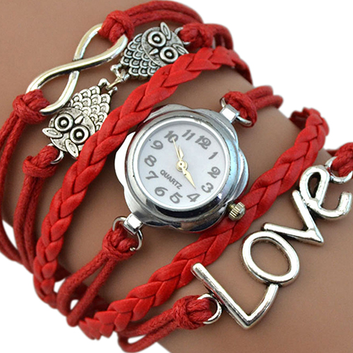 Women's Infinity Love Owl Knitting Multilayer Faux Leather Quartz Bracelet Watch 98XD
