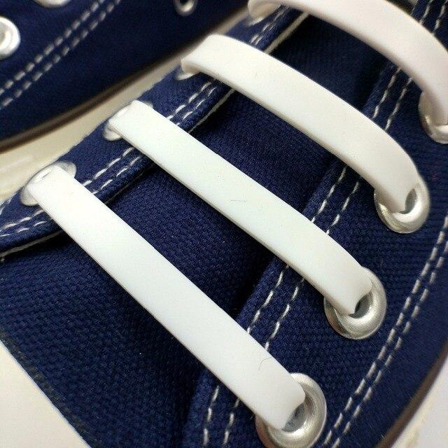 Mr.Niscar 1 ensemble/12 pièces lacet en Silicone élastique blanc pour adultes unisexe sport athlétique pas de lacets