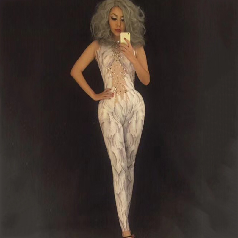 Crystals Wings Angel Jumpsuit White Feather 3D Printed Bodysuit Nigthclub Singer Dance Outfit Rhinestones Stage Rompers DJ220