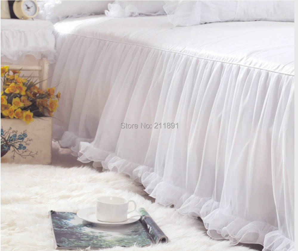 Luxury White Bed Linen Part - 50: Aliexpress.com : Buy Luxury Snow White Lace Bedspread Princess Bedding Set  Queen King 4pc Jacquard Duvet Cover Bed Linen Bedclothes Bed Skirts Cotton  From ...