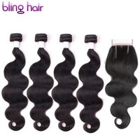 Bling Hair Brazilian Raw Hair Body Wave 4 Bundles Pack With 4x4 Lace Closure Non Remy