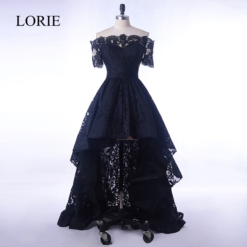 Black Lace   Dress   Evening Short Front Long Back 2018 Boat Neck   Prom     Dresses   For Elegant Women Formal Wedding Party Short Sleeve