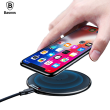 Qi Wireless Charger Pad For iPhone X XS XR Baseus Leather Desktop Fast Wireless Charging Pad For Samsung Note 9 8 S8 S7 S6 Edge цена