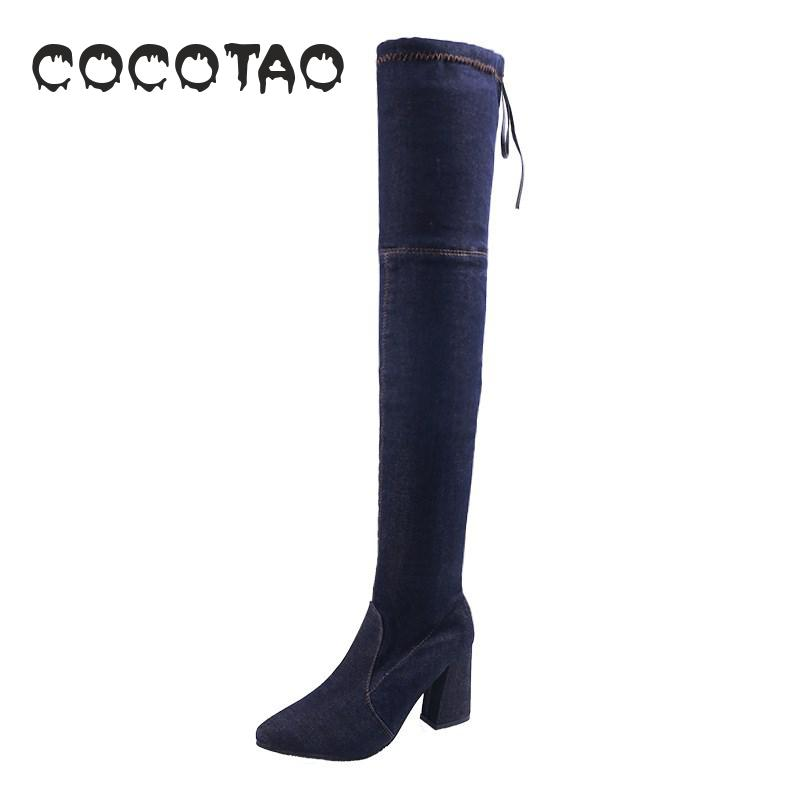 In Autumn And Winter Of 2019 Foreign Trade Boots Show Thin Knees High Heels Thick Children Wish Europe America in Over the Knee Boots from Shoes
