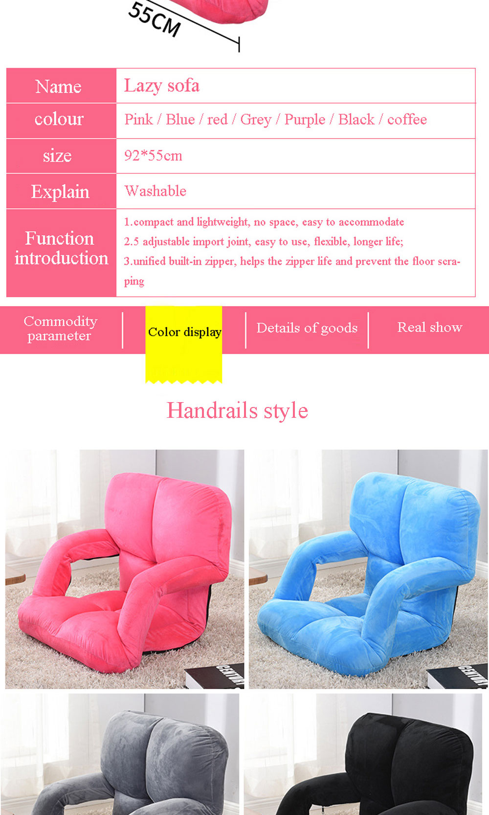 Leewince Modern Living Room Lazy Sofa Couch Floor Gaming Sofa Chair ...