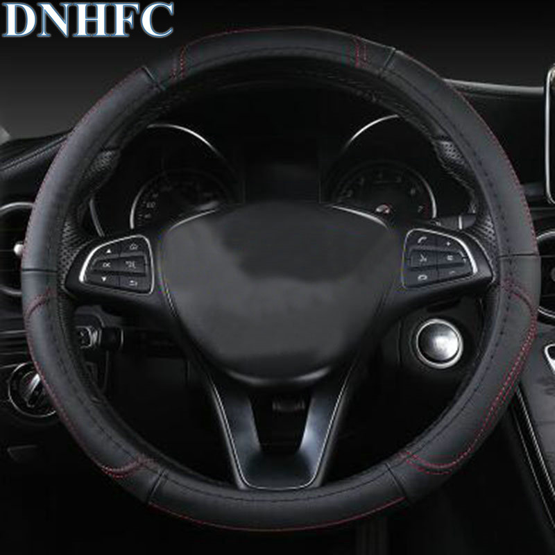 DNHFC steering wheel protects the leather cover For MAZDA CX-5 CX5 KF 2nd Generation 2017 2018 Car Styling dnhfc interior door handle switch decorates sequins lhd for mazda cx 5 cx5 kf 2nd generation 2017 2018 car styling