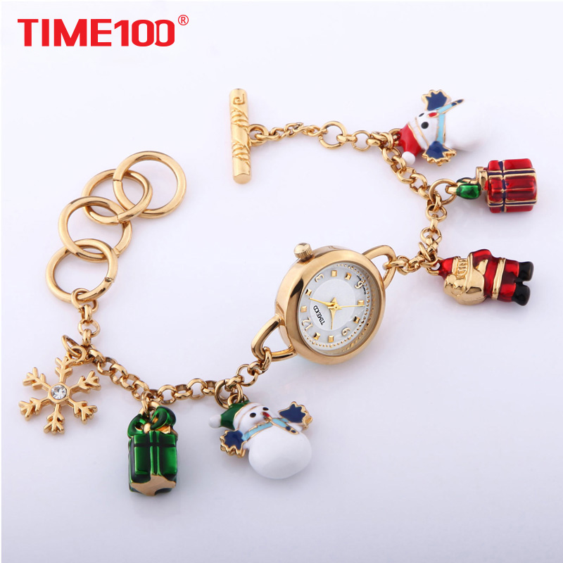 где купить TIME100 Women Bracelet Watches Christmas style Quartz Waches Colorful gift Ladies Wrist Watch Clock snowmen Relogio feminino по лучшей цене