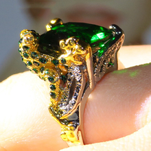 Ladies ring big green cubic zircon luxury jewelry ladies engagement creative banish girl party 2019 latest