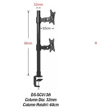 "Desktop Clamping 13-27"" Dual Screen Monitor Holder Long Arm Monitor Mount Retractable Rotation LCD TV Mount Rack Arm Base SC013A(China)"
