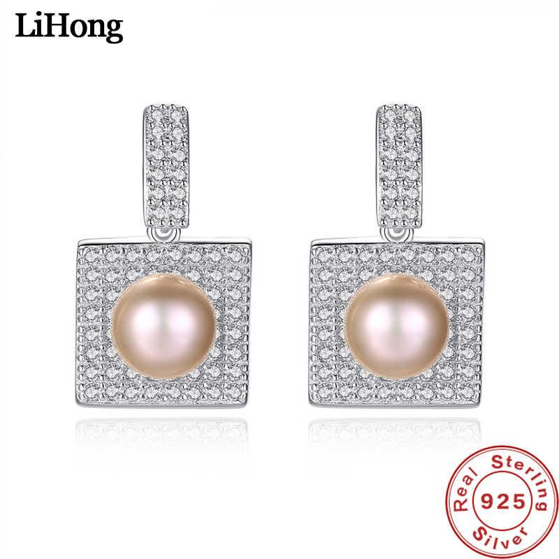 S925 Sterling Silver Jewelry Women'S Pearls Vintage Luxury Micro-Set AAA Zircon Square Earrings Ladies