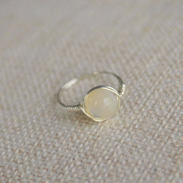 Shell Bead Natural Stone Birthstone Solitaire 925 Sterling Silver