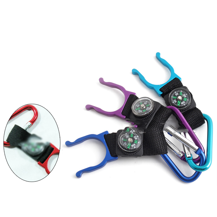 New 1Pc Mini Compass With Carabiner Mini Compass Colors Random Camping Hiking Tools Hanging Ring Type