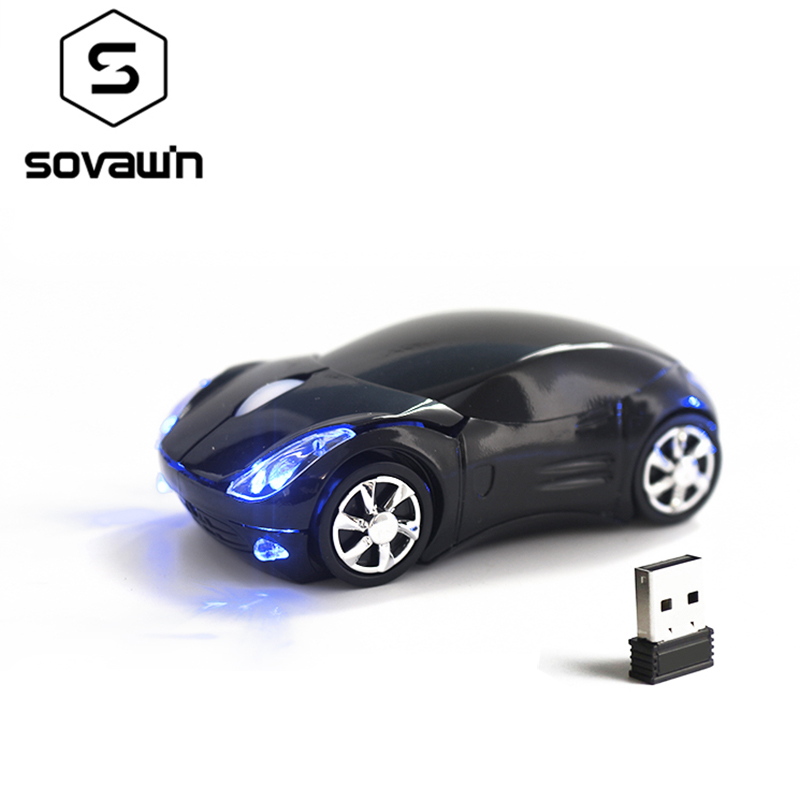 Sovawin 1200 DPI 2.4G Mini Wireless Mouse Car Shaped Mouse USB Optical Mice LED Lights For PC Laptop Computer Home Office USE