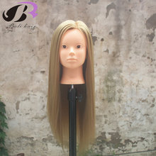Boli Free Shipping! Mannequin Maniquin Dummy Brown 65cm Synthetic Hair Training Mannequin Head With Hair Mannequin Training Head