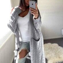 Женский длинный кардиган свободный свитер рукав трикотажная верхняя одежда куртка пальто Топы 1X