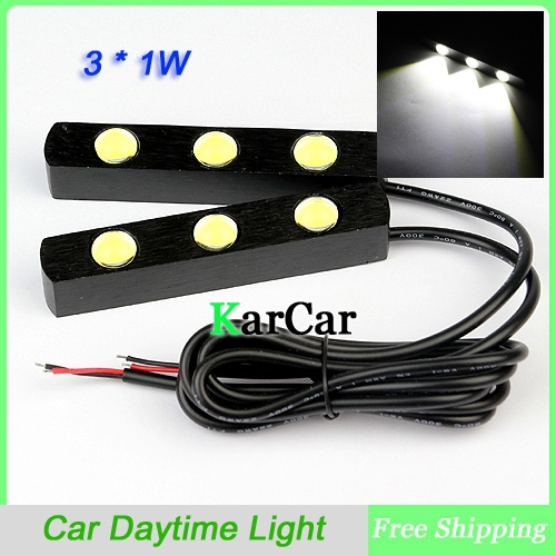 Eagle Eye 3 LED Super Bright White 3W Car Daytime Running Light, 12V Universal Waterproof Day Lights Aluminum Driving Light auto super bright 3w white eagle eye daytime running fog light lamp bulbs 12v lights car light auto car styling oc 25