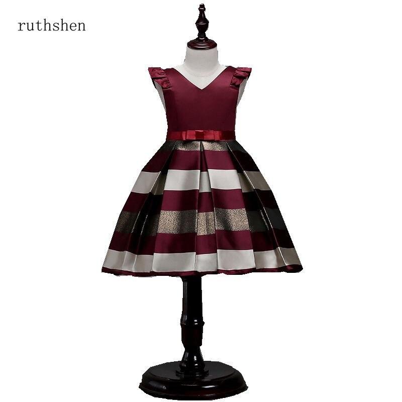 ruthshen Cute   Flower     Girl     Dress   Burgundy/Royal Blue Pageant   Dresses   For Little   Girls   V-Neck Ball Gown   Flower     Girls     Dress