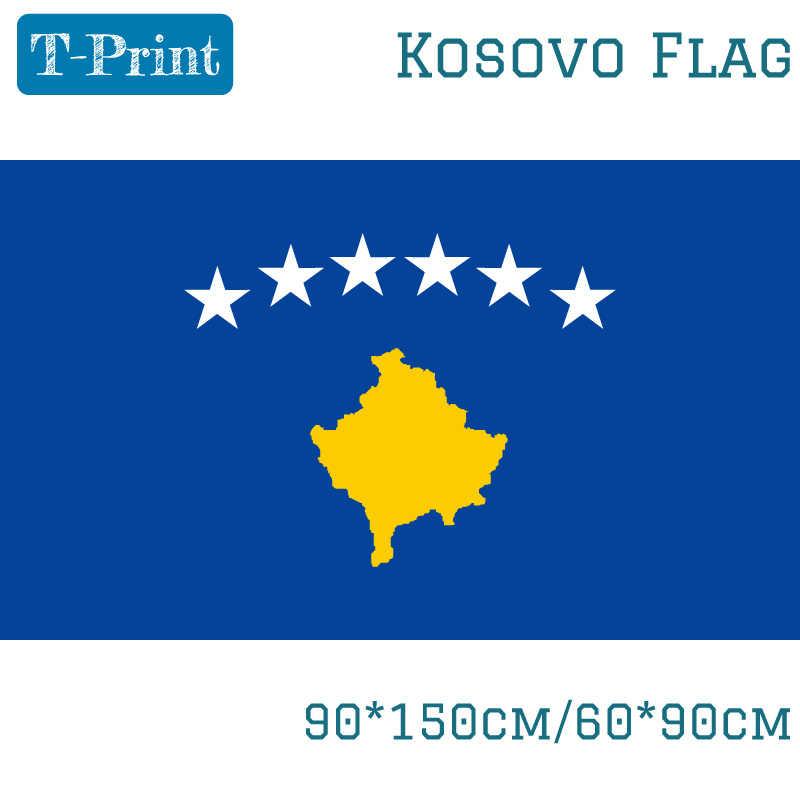 Livraison gratuite 90*150cm/60*90cm Kosovo drapeau mouvements Polyester célébration décoration bannière