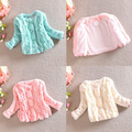 Cute Baby Kids Girl Faux Fur Winter Coat Long Sleeve Collarless Jacket Outerwear