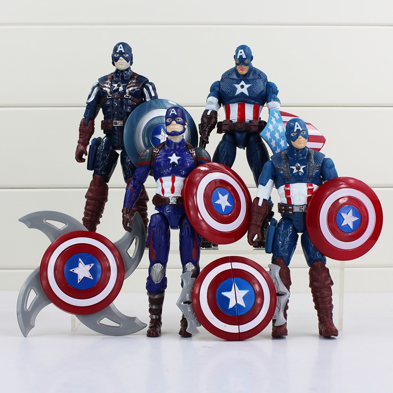 <font><b>4</b></font> Pcs/lot <font><b>Captain</b></font> <font><b>America</b></font> Superman PVC Action <font><b>Figure</b></font> Figma Superheroes 16cm