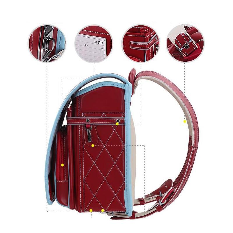 Boy black Backpack For Children Orthopedic School Bag Japanese waterproof PU Hasp Solid High Quality Kid Randoseru For 1 3 Grade-in School Bags from Luggage & Bags    3