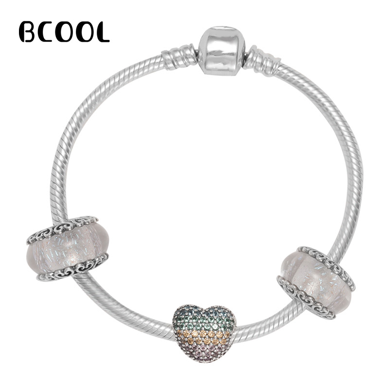 925 Sterling Silver Original Copy 1:1 Silver Matching Color Heart Bracelet Crystal Beads Fine Bracelet Jewelry Suitable For Gift925 Sterling Silver Original Copy 1:1 Silver Matching Color Heart Bracelet Crystal Beads Fine Bracelet Jewelry Suitable For Gift