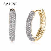 Romantic Champagne Gold Color Luxury Pave Full Cubic Zirconia Creole Round Big Hoop Earrings For Women 2018 New Fashion Jewelry