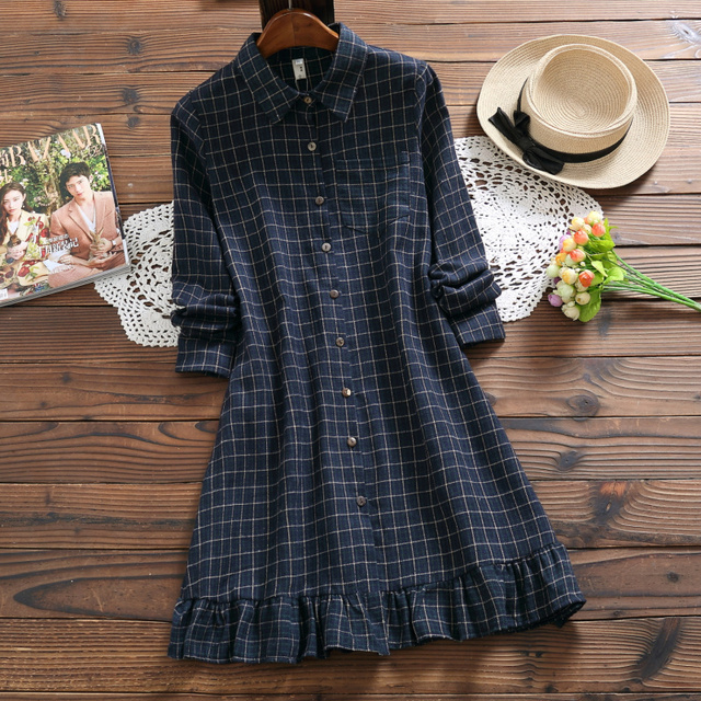 3d0397b3d58 Mori Girl Autumn Winter Shirt Dress Plaid Cotton Linen Lolita Style Mini  Dress Elegant Vintage Ruffles Sweet Cute Women Dresses