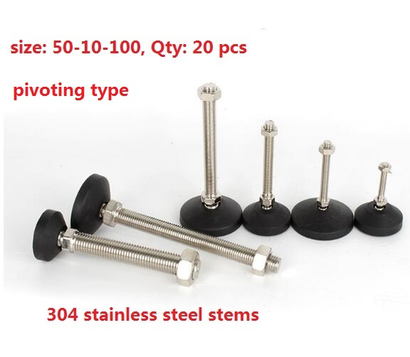 304 stainless steel stems pivoting Anti Vibration foot level feet for cnc base50 M10 Length100