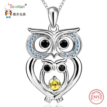 SG 925 Sterling Silver Chain Pendant Necklace Fashion Jewelry Classic CZ Hollow Owl with Baby  Necklaces & Pendants For Women