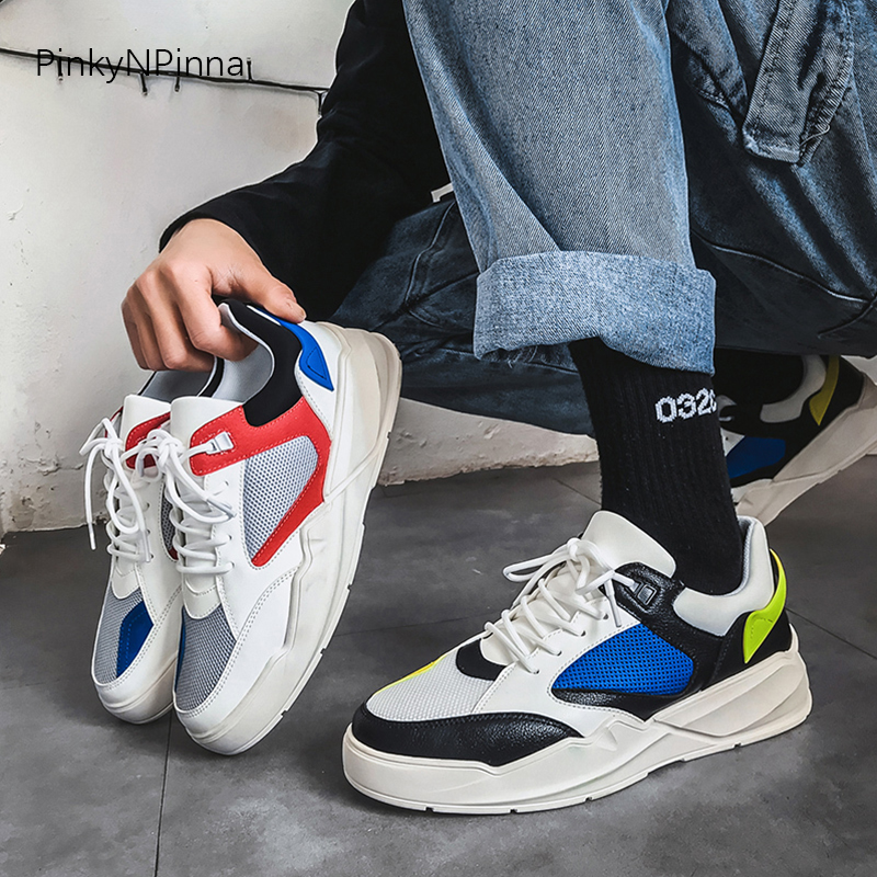 2019 new outdoor young sneakers male mesh patchwork red green lace up sewing street style training breathable casual shoes man in Men 39 s Casual Shoes from Shoes
