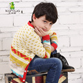 KAMIWA 2015 Spring Teen Boys Striped Knitted Woollen Sweaters Colorful Children's Top Overcoats V-neck Kids Cardigans Clothes