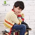 Kamiwa 2015 primavera adolescentes meninos listrado de malha de lã camisolas coloridas das crianças Top casacos com decote em V crianças casacos de lã roupas