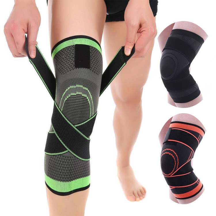 1PCS 3D Weaving Pressurization Knee Brace Basketball Hiking Cycling Knee Support Professional Protective Sports Knee Pad