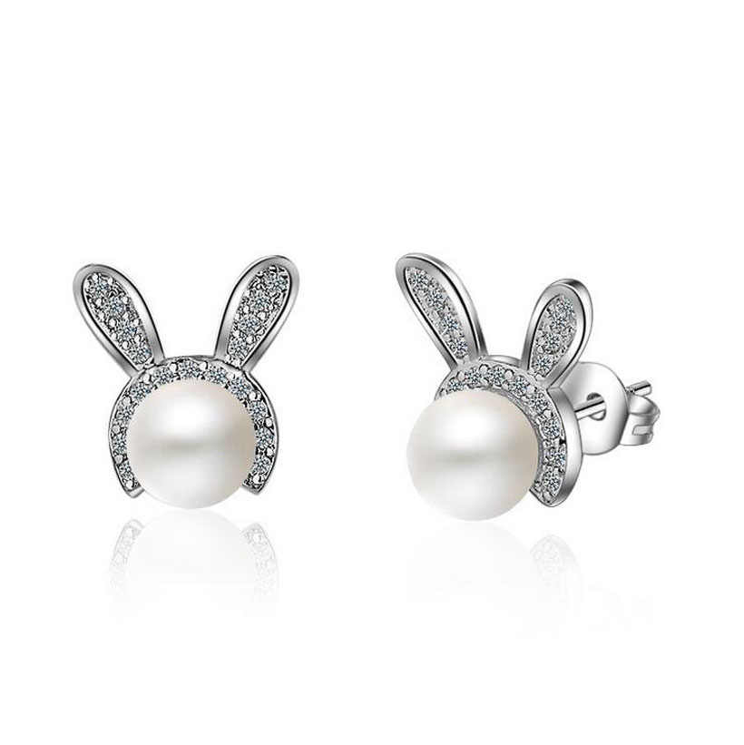 0759fcec3 Child Fashion 925 Sterling Silver Shiny CZ Cute Rabbit Pearl Stud Earring  For Baby Kids Girls