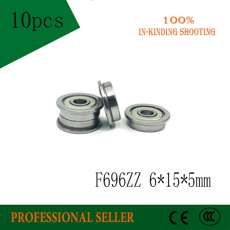 Free Shipping 10pcs F696ZZ Bearing ABEC-3  6*15*5 Mm Flanged F696Z Ball Bearings F696 ZZ F619/6ZZ
