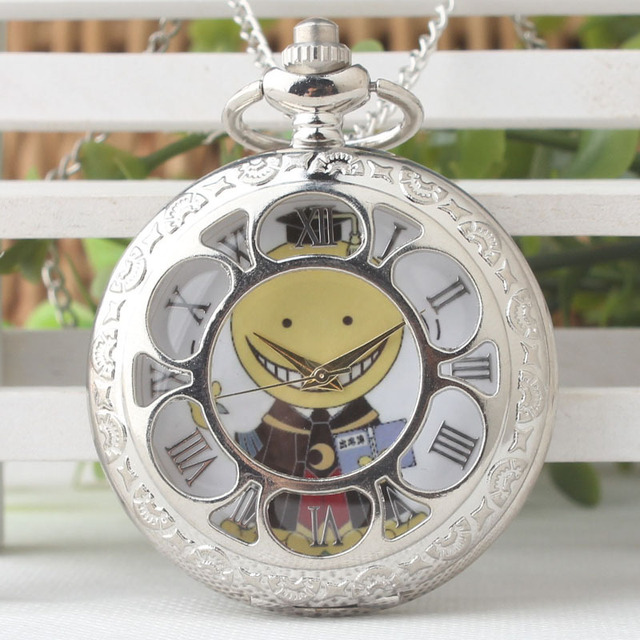 Ansatsu Kyoushitsu Steampunk Pocket Watch Necklace Chain Men Women Fob Anime Wat
