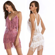 Summer Black Sling Strapless Backless Tassel Sequin Mini Dress Sexy Dance Party Club Wear Elegant Women Bandage Dresses Vestidos