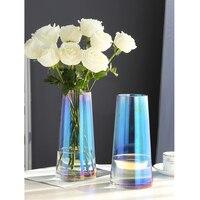 Modern Multi Color glass vase minimalist glass terrarium flower vases for weddings table decorations Crafts home decoration