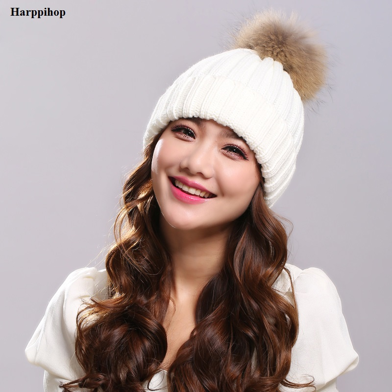2017 Winter Brand New Colorful Snow Caps Wool Knitted Beanie Hat With Raccoon Fur Pom Poms For Women Men Hip Hop Skullies Cap 2016 winter brand new colorful snow caps wool knitted beanie hat for women men hip hop cap skullies